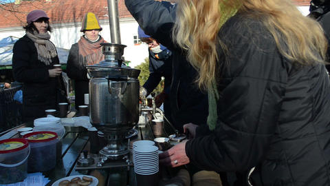 people drink hot tea coffee retro equipment tool spring... Stock Video Footage