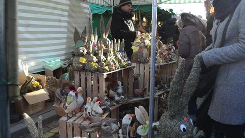 merchant sell handmade animal decorations people spring... Stock Video Footage