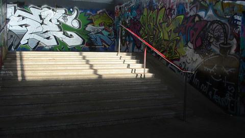 few woman walk stairs in city underground dark passage... Stock Video Footage