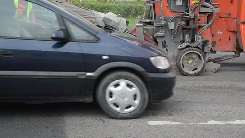 Special asphalt scraper machine mill street cover worker... Stock Video Footage