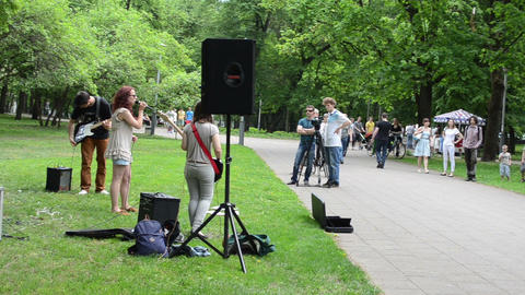 Group of people listen for band young play drum guitar... Stock Video Footage