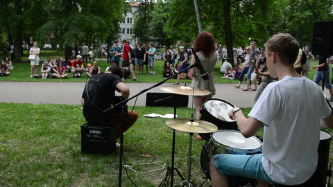 rock band play drum guitar sing hard rock and public... Stock Video Footage