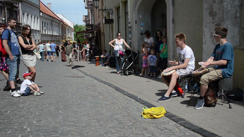 young kids teenagers play drum rhythm and public people... Stock Video Footage