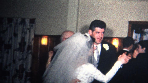 (8mm Vintage) 1966 Bride Groom First Dance At Wedding stock footage