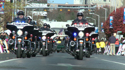 Police motorcade during a fall parade (5 of 8) Stock Video Footage