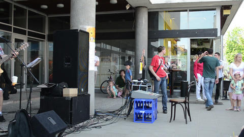 street musicians band play country music sing for audience Footage