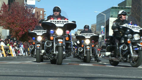 Police motorcade during a fall parade (3 of 8) Stock Video Footage