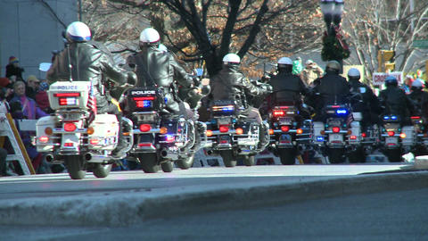 Police motorcade during a fall parade (1 of 8) Stock Video Footage
