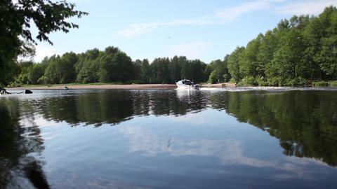 cruise on a powerboat on scenic river Stock Video Footage