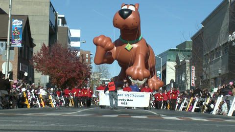 Scooby Doo balloon at parade (1 of 2) Stock Video Footage