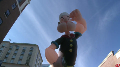 Popeye balloon at parade (1 of 2) Stock Video Footage