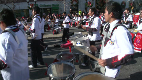 Latin marching band plays festive music (1 of 2) Footage