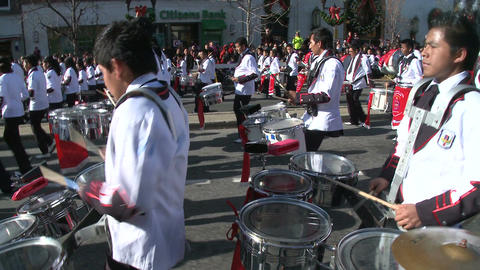 Latin marching band plays festive music (1 of 2) Stock Video Footage