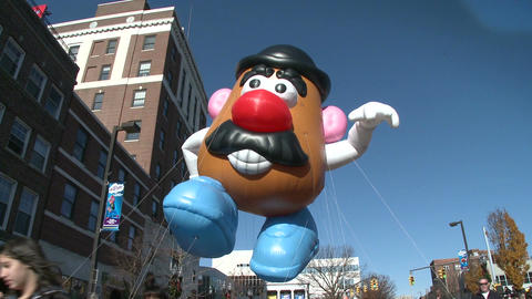 Mr. Potato Head balloon at parade (1 of 2) Stock Video Footage