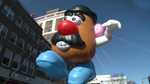 Mr. Potato Head balloon at parade (1 of 2) Footage