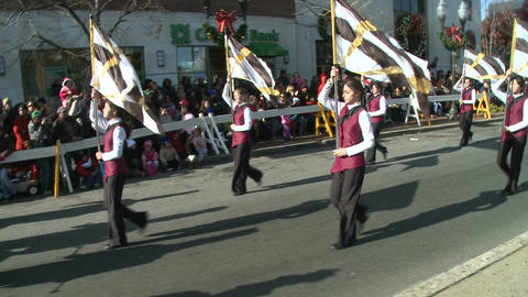 Band marches during city parade (1 of 2) Footage