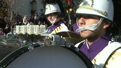 Drumline perform at parade (5 of 5) Stock Video Footage