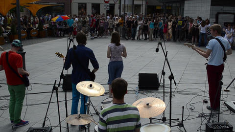students rock band play live music for young people. Back... Stock Video Footage