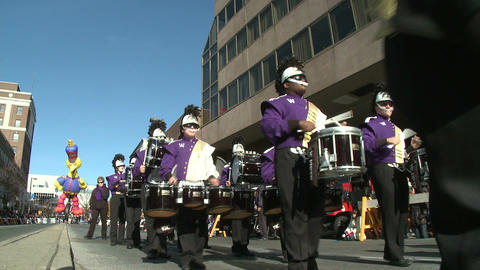Marching band on the move (1 of 3) Footage