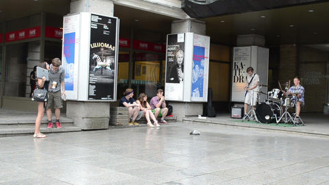 drummer and guitarist rock concert in city square people... Stock Video Footage