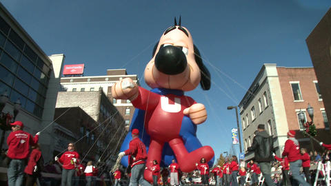 Underdog balloon at parade (1 of 2) Stock Video Footage
