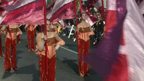 Flag twirlers at parade Stock Video Footage
