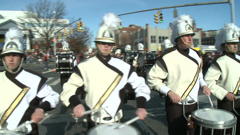 Drumline perform at parade (3 of 5) Stock Video Footage