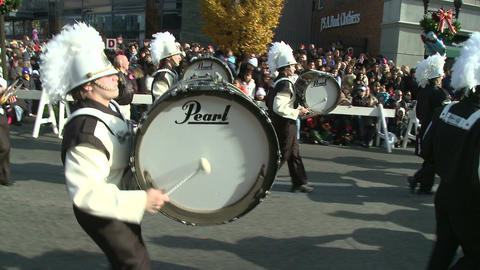 Drumline perform at parade (1 of 5) Stock Video Footage
