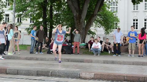 Young teenager girl perform street modern dance street... Stock Video Footage