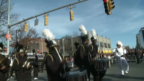 High school marching band at parade Stock Video Footage
