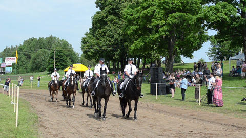 Ranger police riders show in city horse festival and people Footage