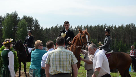 Politician People Give Awards Cup For Horse Race Winners stock footage