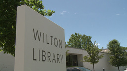 Wilton library sign Stock Video Footage