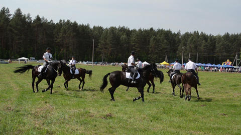 Mounted police horse riders run in circle performance show Stock Video Footage