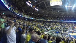 4k basketball fans sing and cheer Stock Video Footage