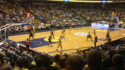 Basketball game stadium during a game Stock Video Footage