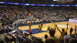 Basketball game stadium during a game Footage