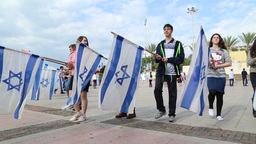 Bnei Akiva Israeli youth group with flags of Israel Stock Video Footage