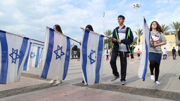 Bnei Akiva Israeli youth group with flags of Israel Footage