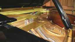 Inside look at steinway grand piano Stock Video Footage