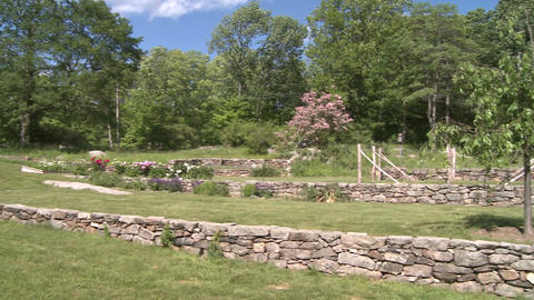Barn with stone walled garden (1 of 2) Stock Video Footage