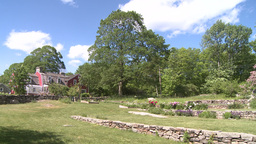 Barn with stone walled garden (2 of 2) Stock Video Footage