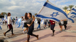 Israeli youth group dance with Israeli flags Stock Video Footage