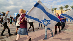 Israeli youth group dance with Israeli flags Footage