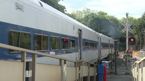 Train leaving station Stock Video Footage