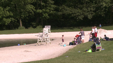 Families at beach (2 of 4) Stock Video Footage