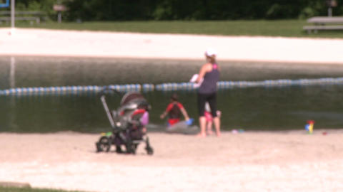 Families at beach (3 of 4) Stock Video Footage