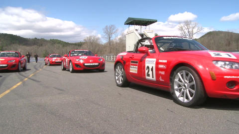 Lineup of Red Mazdas Stock Video Footage