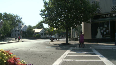 Traffic going through small town with flowers in median... Stock Video Footage