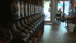 Coffee shop with coffee bean dispensers along wall(1 of 2) Stock Video Footage